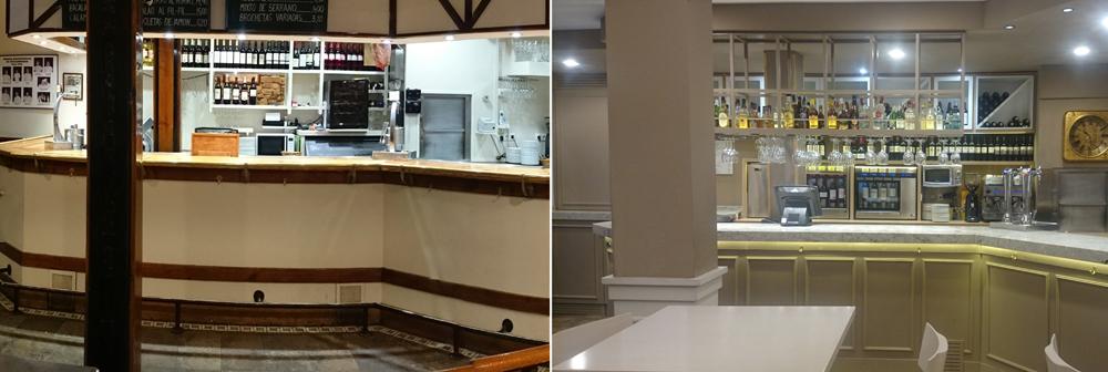 Antes y después frente de barra bar