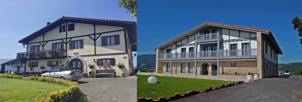 Antes y después de la fachada este del Restaurante Abeletxe