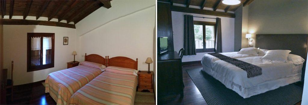 Antes y después en una habitación del Hotel Rural Arregi